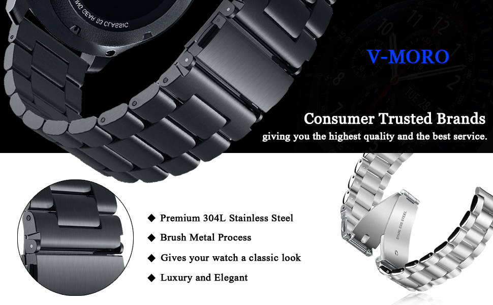 vmoro 22mm solid stainless steel metal business replacement bracelet strap for samsung gear s3 frontier s3 classic sports smart watch black - Stainless