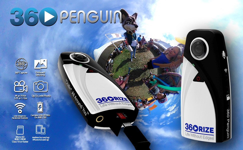 360rize, 360penguin, penguin, live streaming, 4K video, panoramic, 360, video, photo,iphone, android