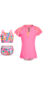 girls 3 piece swim suit set