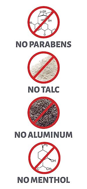No Parabens No Talc No Alumninum
