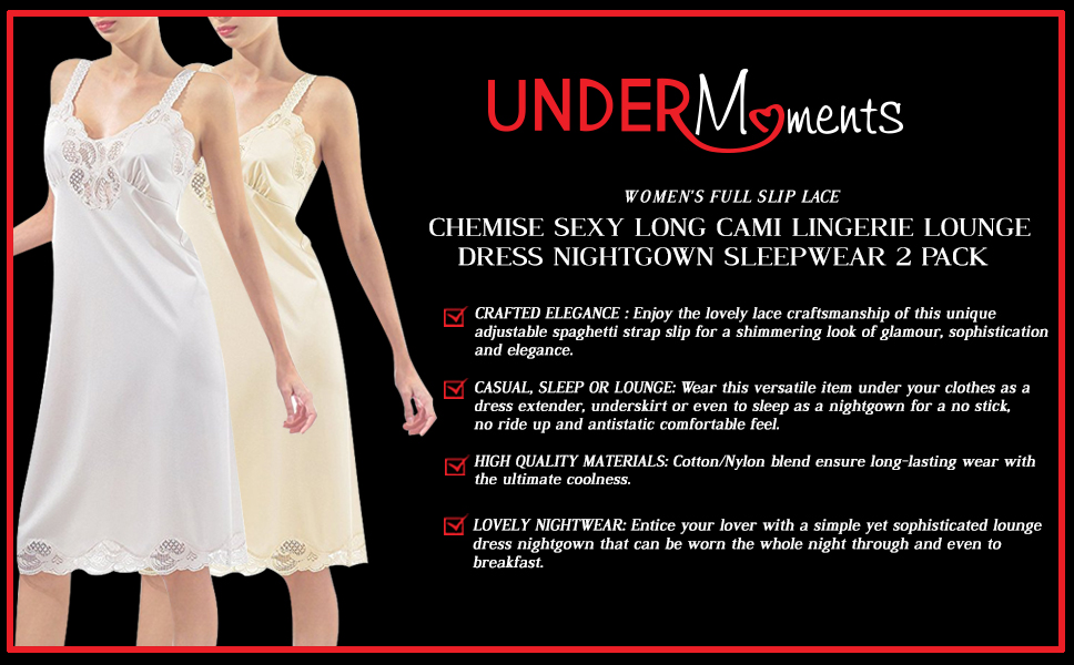 Under Moments Women Full Chemise Cami Slip Camisole Dress Nightgown 2 Pack