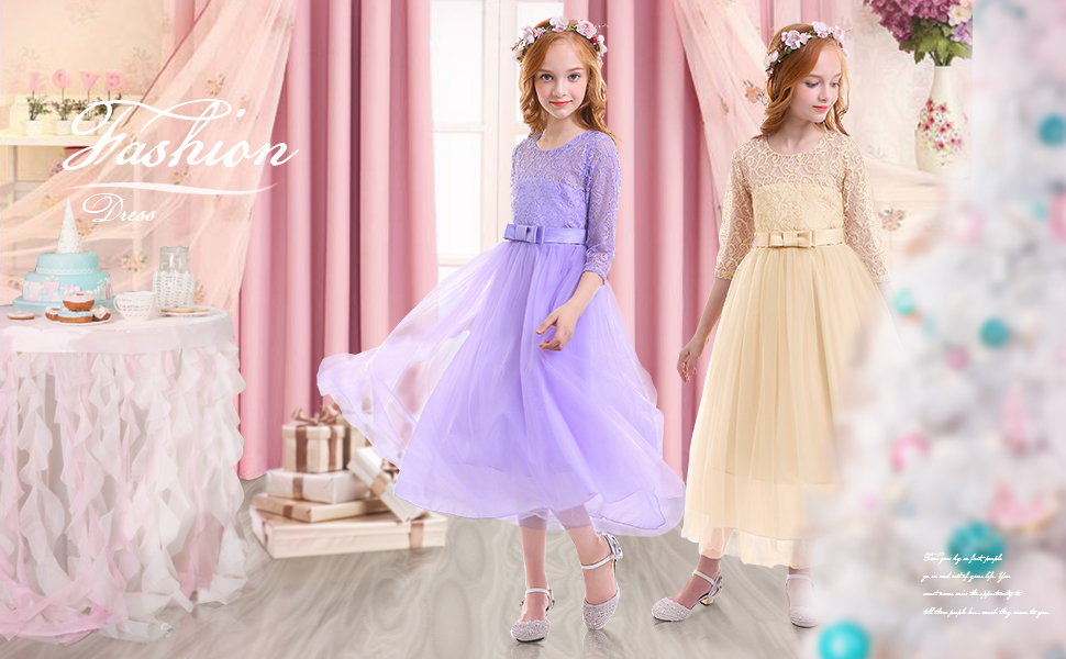 554a413f9e Girl's Embroidery Tulle Lace Maxi Flower Girl Wedding Dress 3/4 Sleeve Long  A Line Pageant Party Formal Dance Evening Gown