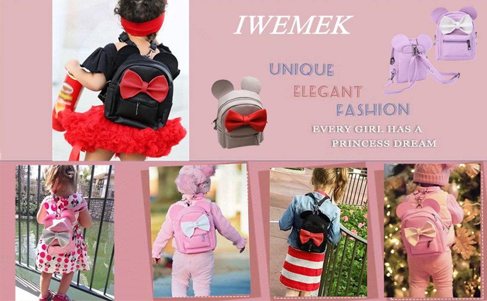 dd142291f6 Girls Bowknot Cute PU Leather Backpack Fashion Small School Bags Casual  Lightweight Sport Daypack Mini Backpack Purse for Women