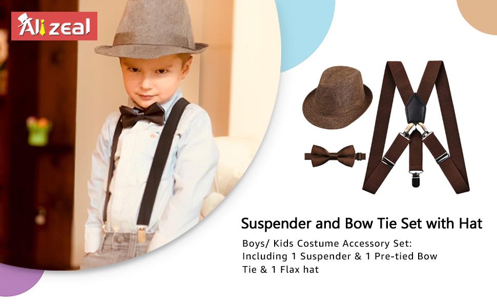 b767cbc041d7 Amazon.com: 2.5cm Elastic Braces 3 Clip Suspender and Bow Tie Set ...