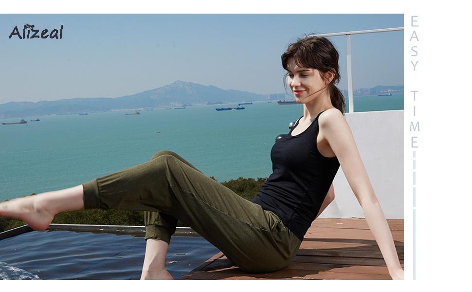 09460afa6c Amazon.com  Alizeal Women s Basic Solid Camisole Stretch Casual Tank ...