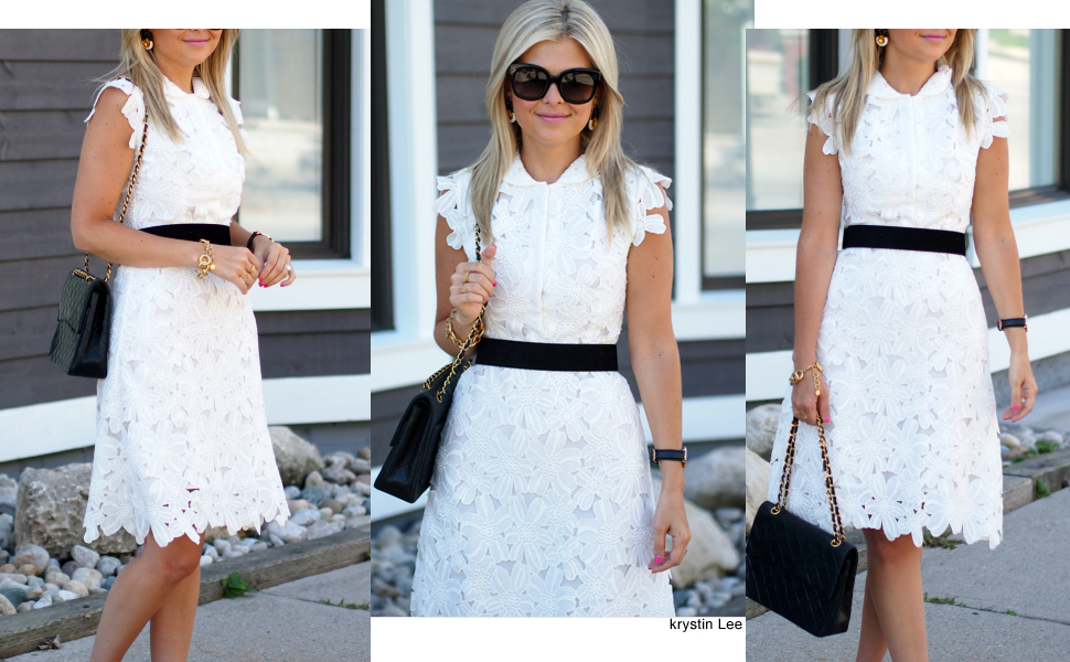 b1ee97e81c9 This belted white shift dress is a awesome choice to team with your heels.  Cut to above knee length