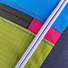 Zipper and string detail for different colors and stiitching