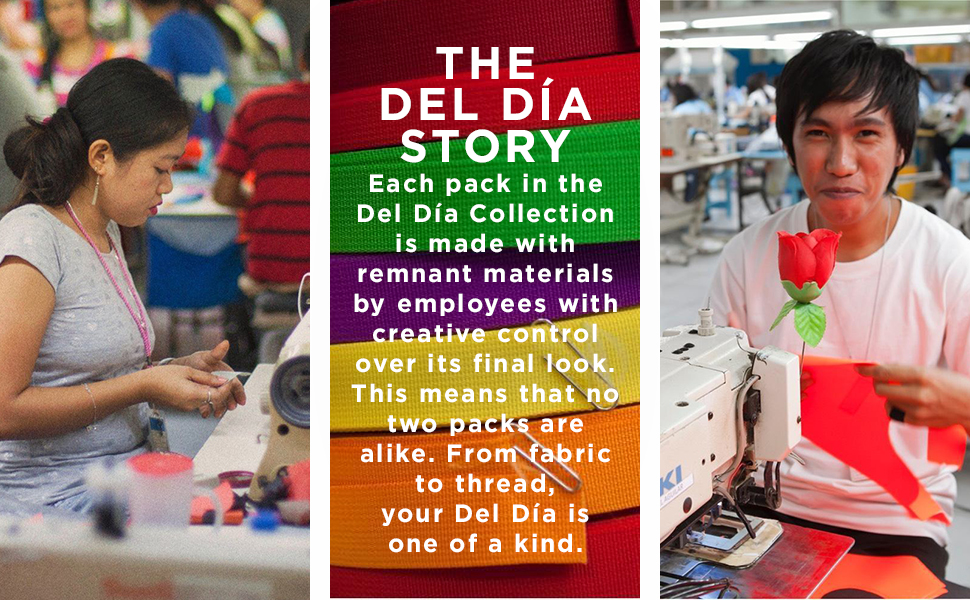 Del Dia Story collection is made from remnant materials,  color choice created by the factory worker