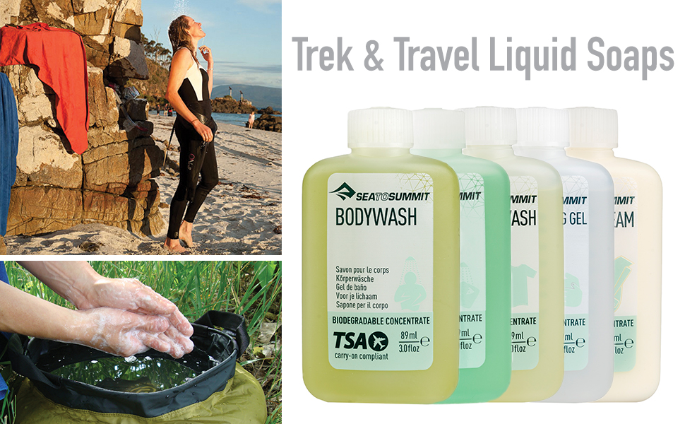 Trek and Travel Liquid Soap lined up and in use.