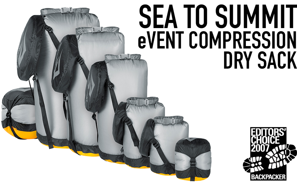 Sea To Summit eVent Compression Dry Sack sizes.