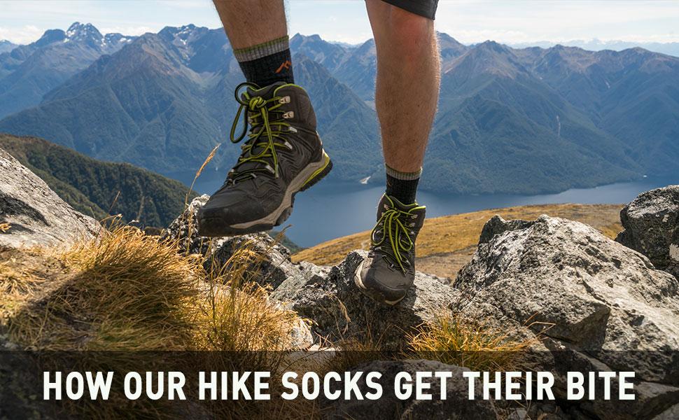 Hiker in action wearing Darn Tough Sock