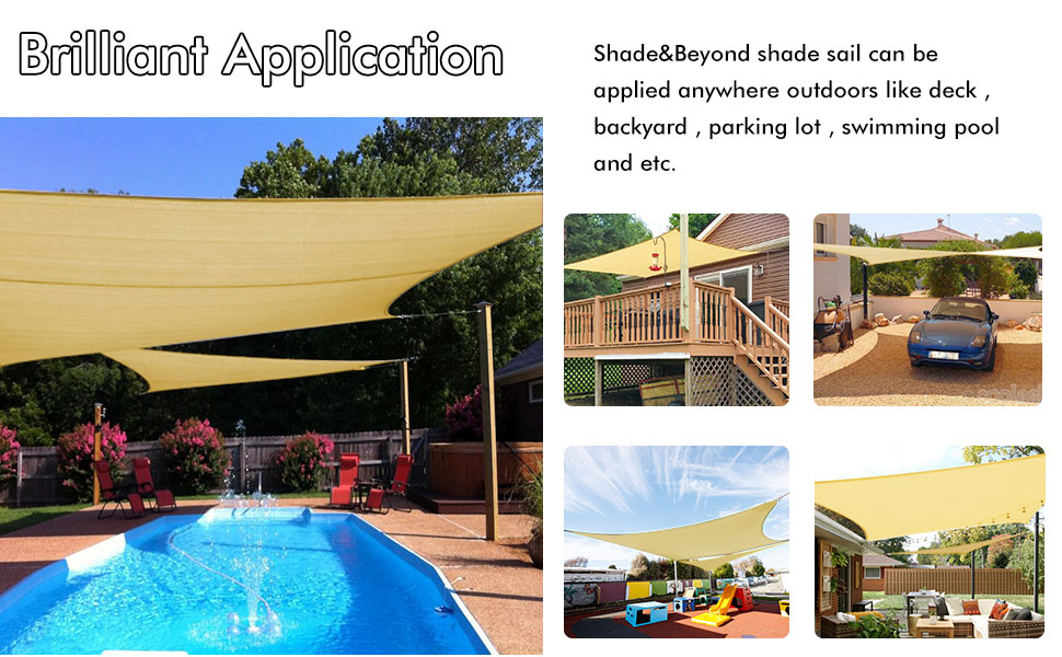 Brown MEEYI Garden Sun Shade 2X2X2m Sail Awning 95/% Anti-Uv /& Waterproof Wear-Resistance High Temperature Resistance Easy To Install for Garden Patio Swimming Pool