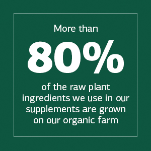 More than 80% of the raw plant ingredients we use in our supplements are grown on our organic farm