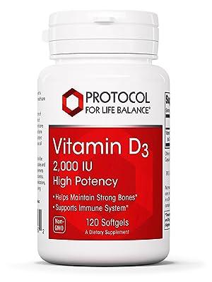 Protocol for Life Vitamin D3 High Potency Bone Dental Health Immune System Brain Supplement