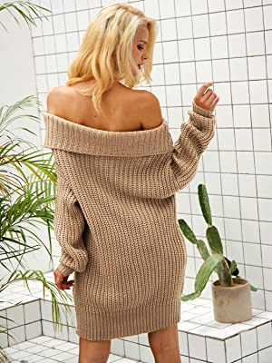 9c11949e28 Glamaker Women s Pullover Loose Sweater Dress Short Off Shoulder Knit Dress  Oversized. One year after year