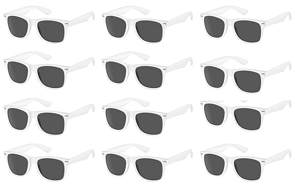 TheGag White Wayfarer Sunglasses Party Pack-12 White Wedding Party Premium Quality Plastic-Wholesale Bulk Sunglasses