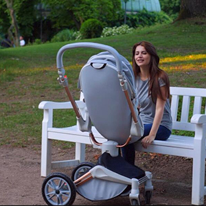 fun - Baby Stroller 360 Degree Rotation Function,Hot Mom Baby Carriage Pu Leather Pushchair Pram 2020,Grey