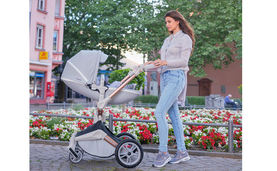 seat - Baby Stroller 360 Degree Rotation Function,Hot Mom Baby Carriage Pu Leather Pushchair Pram 2020,Grey