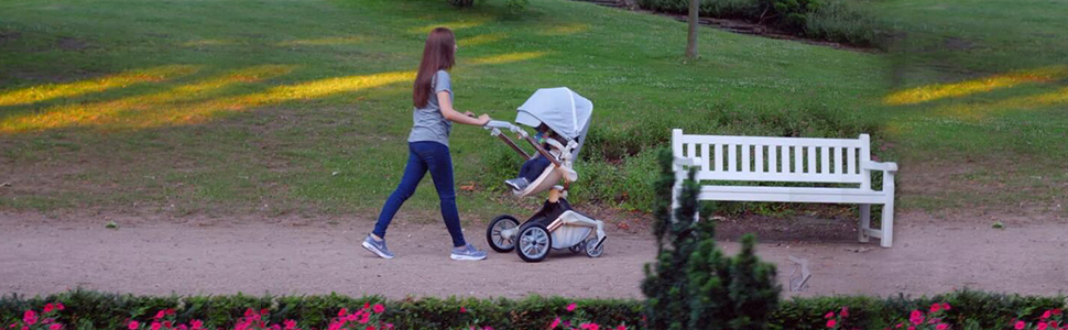 green - Baby Stroller 360 Degree Rotation Function,Hot Mom Baby Carriage Pu Leather Pushchair Pram 2020,Grey