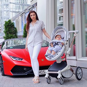 red - Baby Stroller 360 Degree Rotation Function,Hot Mom Baby Carriage Pu Leather Pushchair Pram 2020,Grey