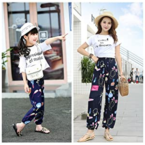 Color D, Mom XL Elufly Women Girls Printed Casual Loose High Waist Pants Mommy and Me Matching Outfits