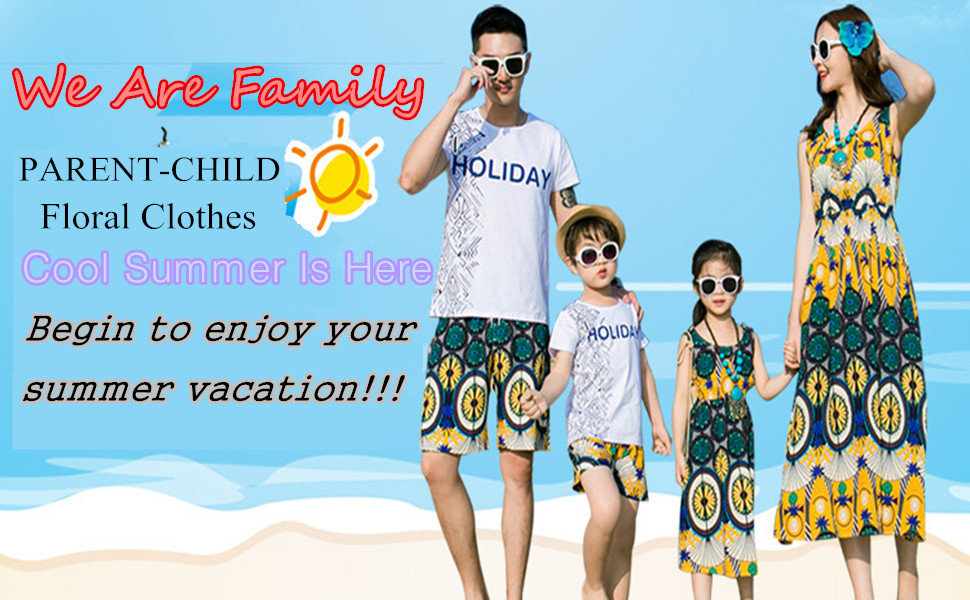 35150135cc1 Amazon.com  Elufly Summer Family Matching Outfits Floral Mommy ...