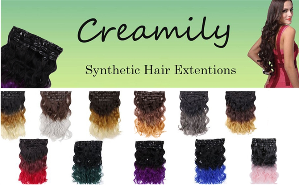 Amazon Creamily 18 Long Curly Wavy Ombre Color Clip In 8