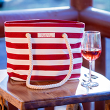Canvas Beach Bag Red and White Striped Wine Pouring Bag Secret Secret Fun and Fashionable Pocket