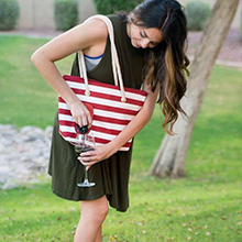 Portovino red white canvas tote bag beach bag for pool beach bag secret pocket isolated