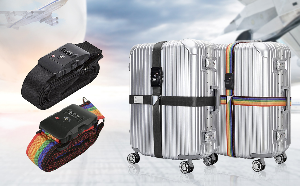 8cde5d8df7ab1 Luggage Straps Adjustable Suitcase Belts with 3 Dial Digit Combination Travel  Bag Accessories Clothing, Shoes ...