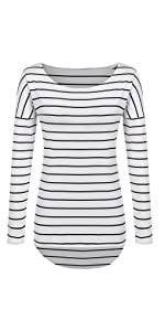 Long Sleeve Striped T Shirt Tunic Tops