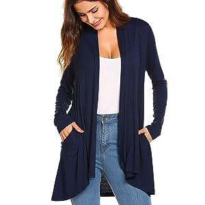 Women's Long Sleeve Asymmetric Hem Open Front Draped Casual Cardigan Sweater