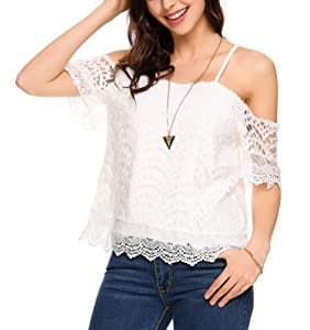 66ebdc4fc5a POGTMM Women's Summer Lace Off Shoulder Tops Spaghetti Straps Short ...
