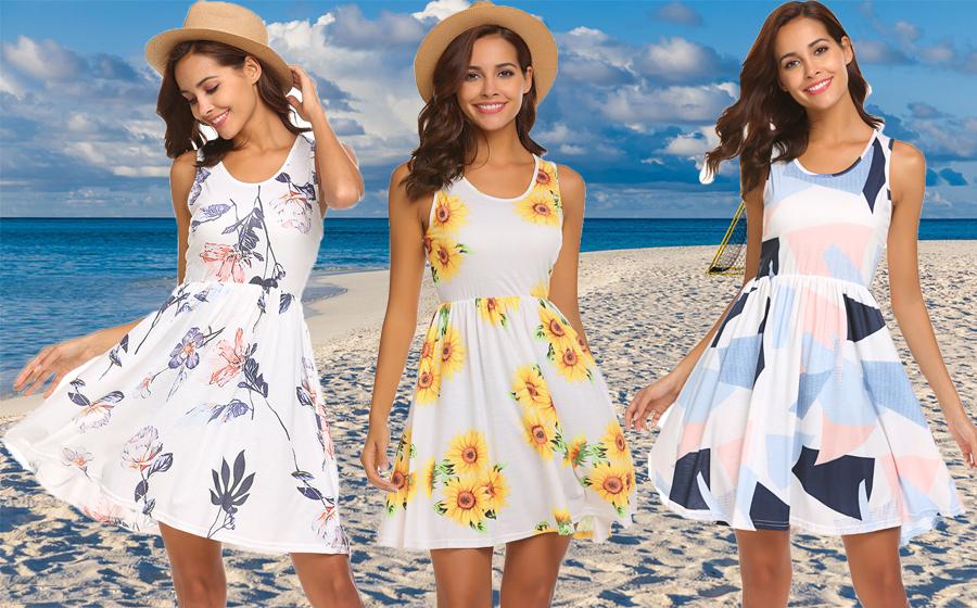 Dresses for Women Striped Print Sleeveless Casual Tank Top Sundress Party Summer Beach Midi Dress