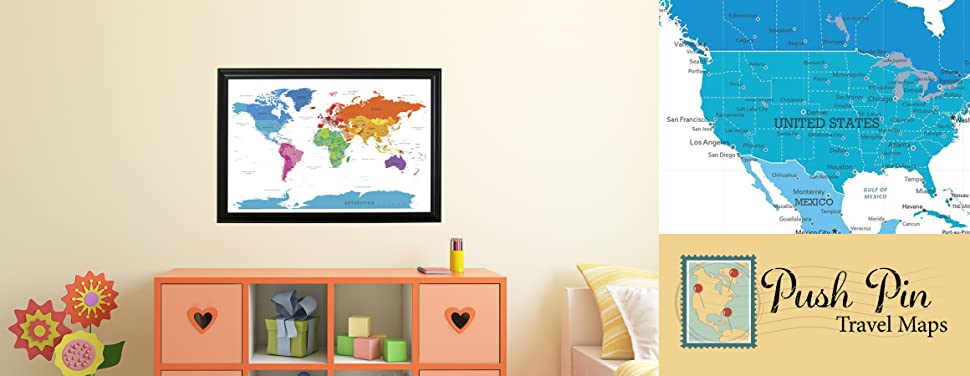 Amazoncom Colorful World Push Pin Travel Map With Black Frame - Childrens us pushpin map