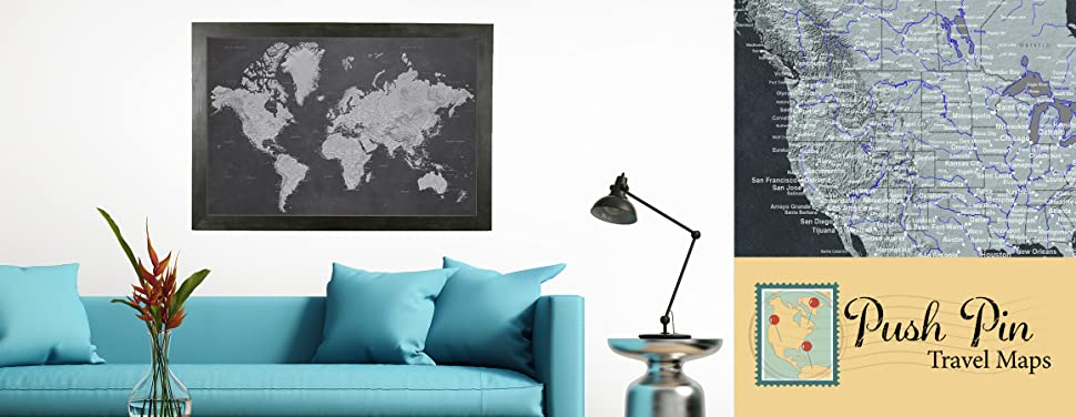 Stormy Dreams World Travel Map with Black Frame