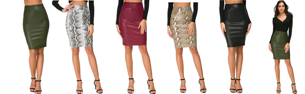 b4f68f65f0 Wosalba Womens Faux Leather Pencil Skirt Slim Fit Elegant Stretch High  Waist Midi Bodycon Skirts