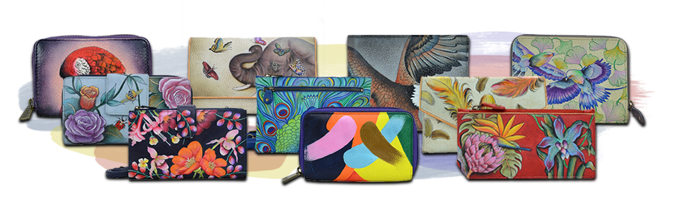 Anuschka Leather wallets, clutches, credit card cases and coin purses