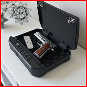 Easily secure valuables such as a single full size firearm, jewelry, cash, and other personal items.