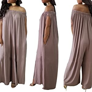 d73bd9d0a0d Amazon.com  DINGANG Women s Jumpsuits Off The Shoulder Rainbow Print ...