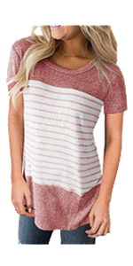 Womens Short Sleeve Color Block Stripe Shirt