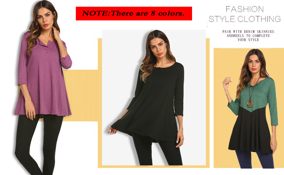 2b1833af4f2 Womens Loose 3/4 Sleeve Swing Buttons Tunic Tops Henley T Shirts with  Pockets