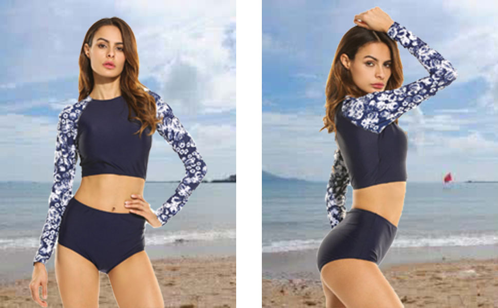 39cabd47924f2 Qearal Womens Printed Long Sleeve Rashguard Swimwear Two Piece Surf Bathing  Suit