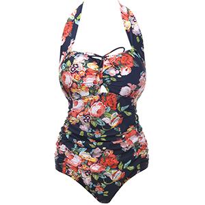 c3e49ca5d1c QZUnique Women's Retro Vintage One Piece Swimwear Floral Monokinis-Front