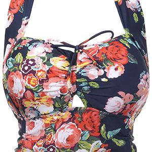 64f86cf23cc QZUnique Women's Retro Vintage One Piece Swimwear Floral Monokinis-Details