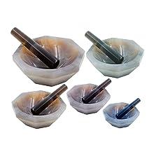 Warp United Agate Mortar Inner Diameter 140 mm and Pestle Set for Laboratory Grinding