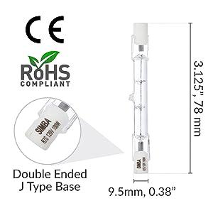 simba lighting halogen r7s type j j78 double ended light bulb dimensions 100w