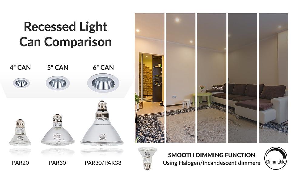 """recessed light can comparison 4"""" 5"""" 6"""" par20 par30 par38 smooth halogen traditional dimming dimmable"""