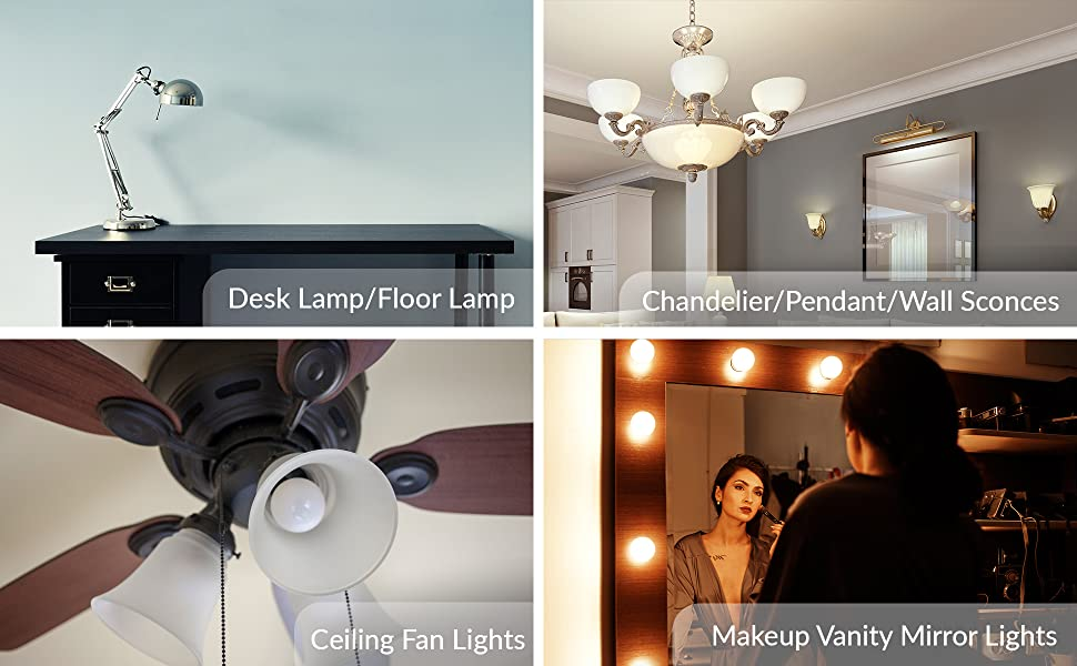 led g14 a15 applications ceiling fan chandelier pendant table desk lamp floor wall sconce vanity