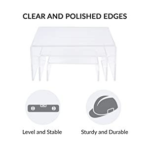 acrylic display risers low profile medium clear clear and polished edges level stable sturdy durable